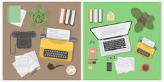 Writer desk mockup set. Piirros