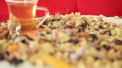 Tea with different kind of healing herbs Stock Footage