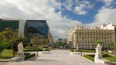 4K University of Greece overlook Panepistimio square Athens Athina Athen Greece Stock Footage