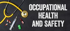 Stethoscope and pharmaceuticals on a blackboard - Occupational Health and S.. Stock Photos