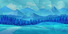 Winter low poly background with road and polygonal firs trees. Landscape season Stock Illustration