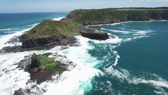 Static shot of ocean waves crushing on Cape Schanck Pulpit Rock  Melbou Stock Footage