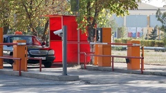 Automatic security barrier at parking Stock Footage