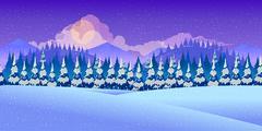 Beautiful Winter Landscape Stock Illustration