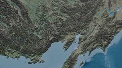 Zoom into Kolyma mountain range - masks. Natural Earth Stock Footage
