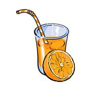 Glass of freshly squeezed juice with orange half, vector illustration Stock Illustration
