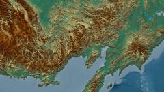 Zoom into Kolyma mountain range - masks. Relief map Stock Footage