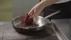Frying Piece of Meat Stock Footage