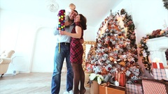 Good New Year spirit. happy family, festive Christmas tree. Stock Footage