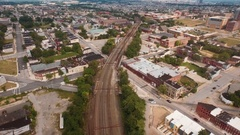 Flying above the streets of Baltimore, Maryland, United States Stock Footage