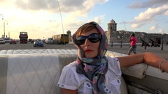Stylish girl in an old American convertible car  rides at Havana Malecon. Cuba Stock Footage