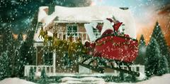 Composite image of santa claus riding on sled during christmas Stock Illustration