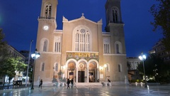 4K Cathedral Dome at night Athens Athina Athen Greece Europe Stock Footage