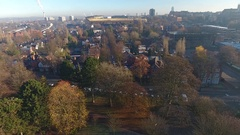 Low autumnal aerial shot of Wolverhampton. Stock Footage