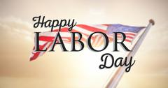 Composite image of happy labor day text with star shape Stock Illustration
