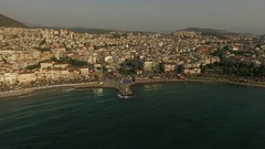 Beautiful Aegean sea and the resort town in Turkey Stock Footage
