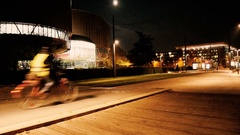 European Court of human Rights at night Stock Footage