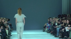Models on the catwalk during the fashion show Stock Footage
