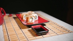 Sushi For Two Persons Stock Footage