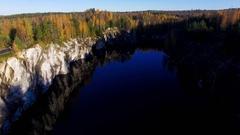 Marble rock in Karelia in autumn Stock Footage
