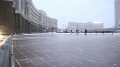Wind storm in Astana, the capital of Kazakhstan Stock Footage