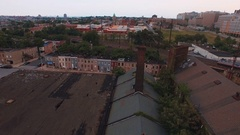 Flying over city rooftops, Baltimore, Maryland, United States Stock Footage