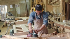 Carpenter in Safety Gear Working Stock Footage