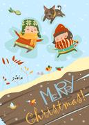 Happy boy and girl making a Snow Angel Stock Illustration