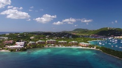 Aerial view of Redhook and the Ritz Carlton, St Thomas, Virgin Islands Stock Footage