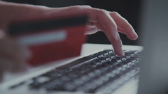 Unknown woman making on line shopping with credit card Stock Footage