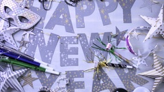New Year party silver decorations on the table. Stock Footage