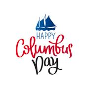 Happy Columbus Day. The trend calligraphy Stock Illustration