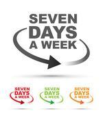 Seven days set Stock Illustration