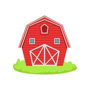 Red Wooden Barn Cartoon Farm Related Element On Patch Of Green Grass Stock Illustration