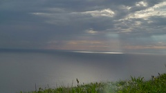 The big ocean fronting the Cliffs of Moher in Ireland Stock Footage