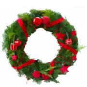 Green christmas wreath with red decorations Stock Illustration