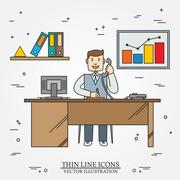 Office man , Business man.  Thin line  icon for web and mobile. Vector. Stock Illustration