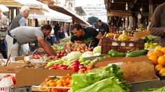 4K Central Vegetable Market in old town Athens Athina Athen Greece Europe Stock Footage