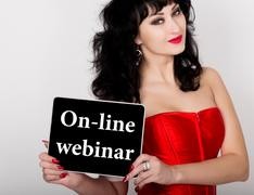 On-line webinar written on virtual screen. technology, internet and networking Kuvituskuvat
