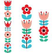 Finnish inspired long folk art pattern - Nordic, Scandinavian style Stock Illustration