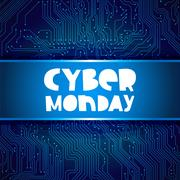 Cyber Monday. Circuit electronic board background Stock Illustration