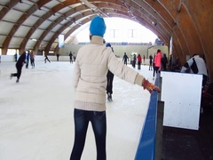 Skating on thin ice in winter Stock Footage