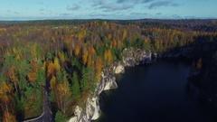 Marble rock Ruskeala in Karelia in autumn Stock Footage