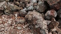 Frozen lava fields of Great Tolbachik Fissure Eruption Stock Footage