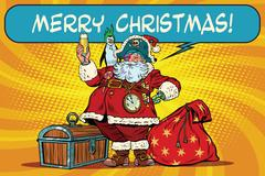 Santa Claus pirate wishes merry Christmas Stock Illustration