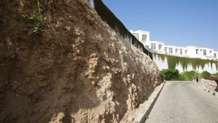 Beautiful egypt architecture. white two-story building near sea Stock Footage