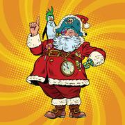 Santa Claus pirate penguin pointing gesture Stock Illustration