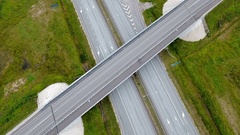 Aerial view of the big skyway road in the city in Ireland Stock Footage