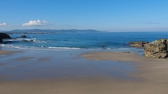 As Illas Beach in Ribadeo, Spain Stock Footage
