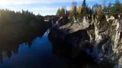 Marble rock in Karelia aerial flight Stock Footage